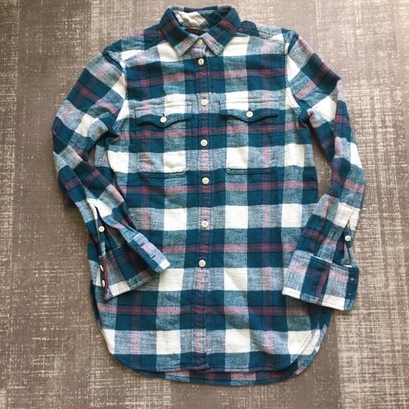 c10963d63d1032 J. Crew Tops - J.Crew bluegrass plaid boyfriend flannel shirt 00